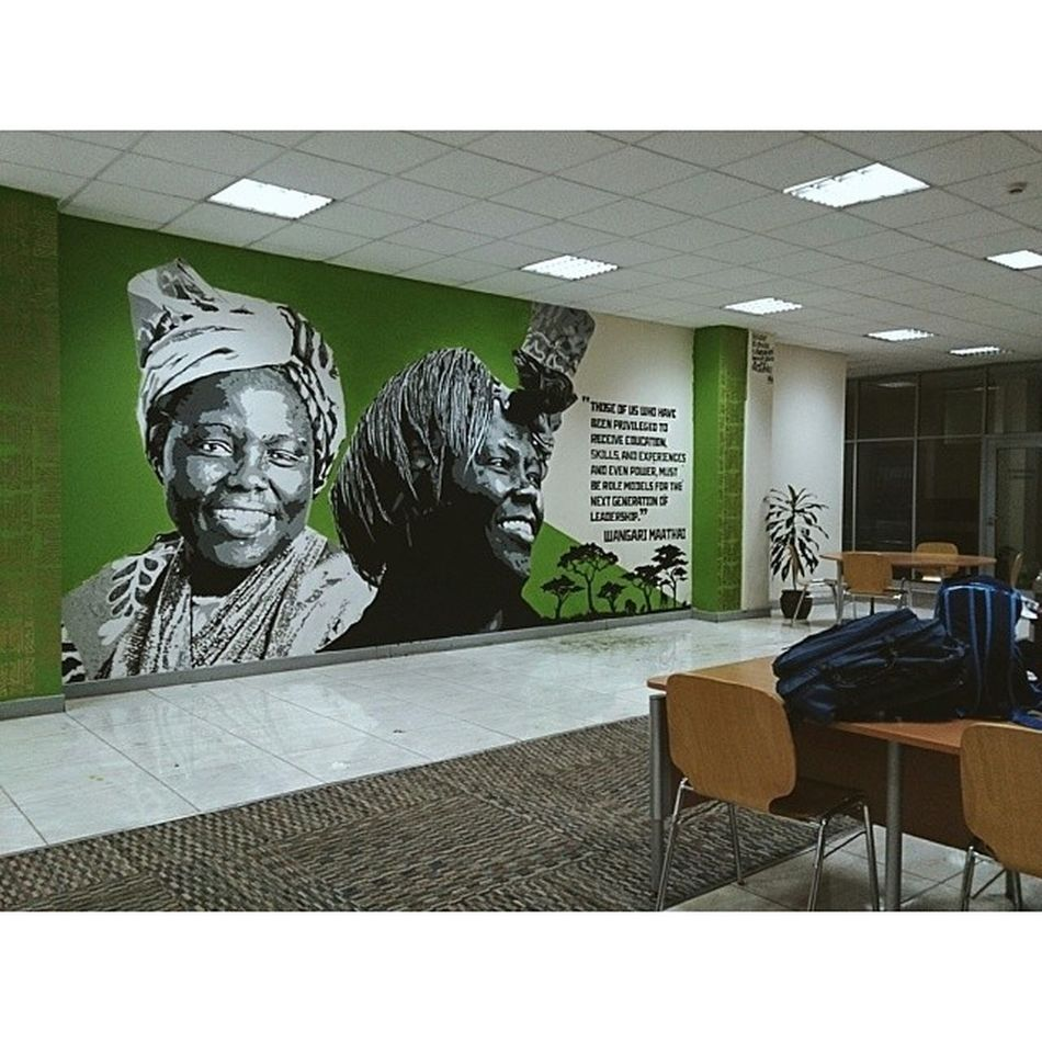 """My second mural of the mural series at the United States International University Africa (USIU) Library. Thank you to the Vice Chancellor Professor Freida Brown and my artistic team of Kerosh, Sheila Cleo, Mabel Rubadiri and Felok. """"Those of us who have been privileged to receive education, skilks, and experiences and even power, must be role models for the next generation of leadership."""" Wangari Muta Maathai was a Kenyan environmental and political activist and A Nobel Peace prize Laureate. Power Wisetwo Nairobi Kenya Africa graffiti muralart murals stencils stencilart education Graffitigoesintellectual"""