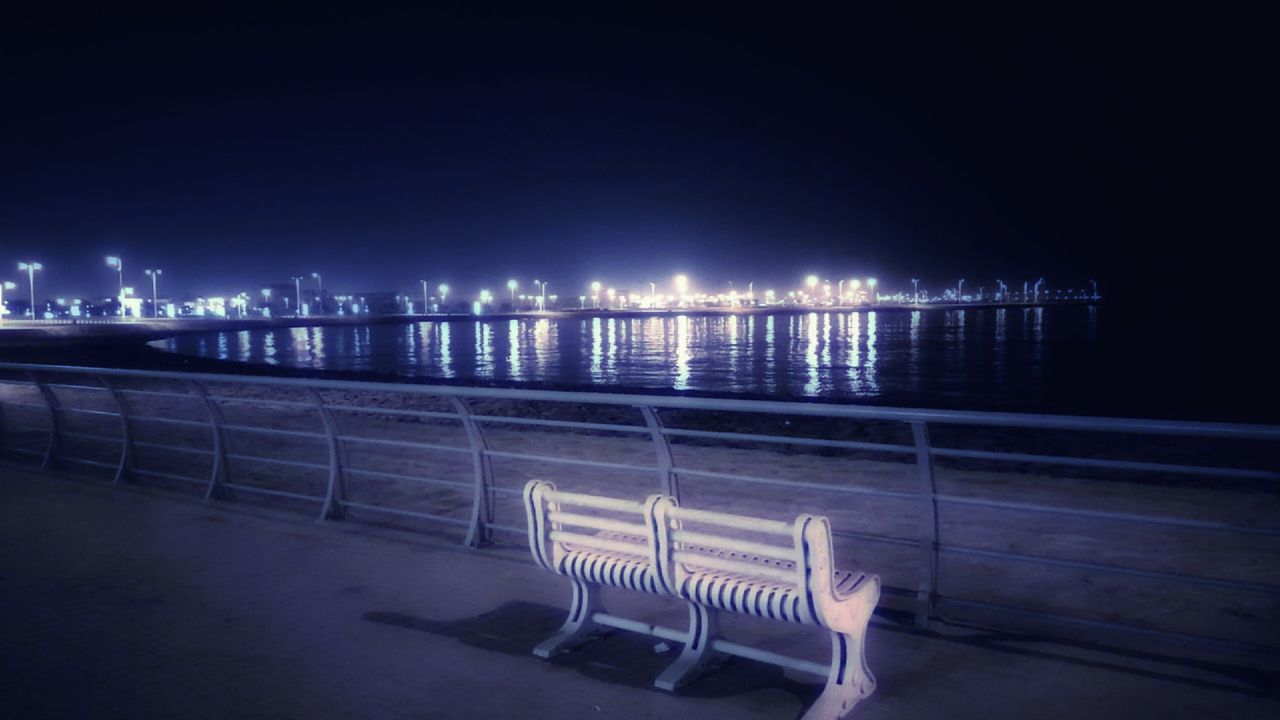 illuminated, night, railing, outdoors, built structure, architecture, building exterior, no people, water, sea, city, sky