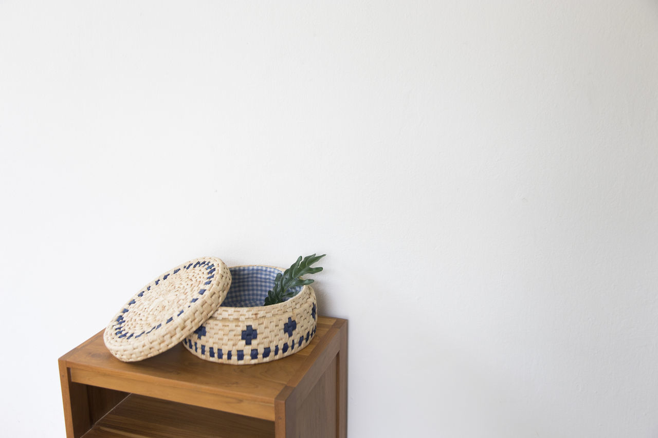 White Space Copy Space Day Indoors  No People Table White Background Wicker Baskets Women