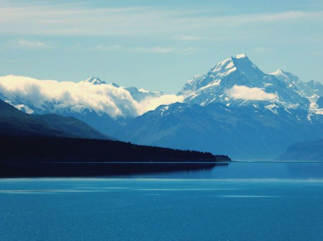 New Zealand Nature Nature_collection Natural Beauty Beautiful Nature Water_collection Clouds And Sky Mountains Mount Cook Lake Tekapo