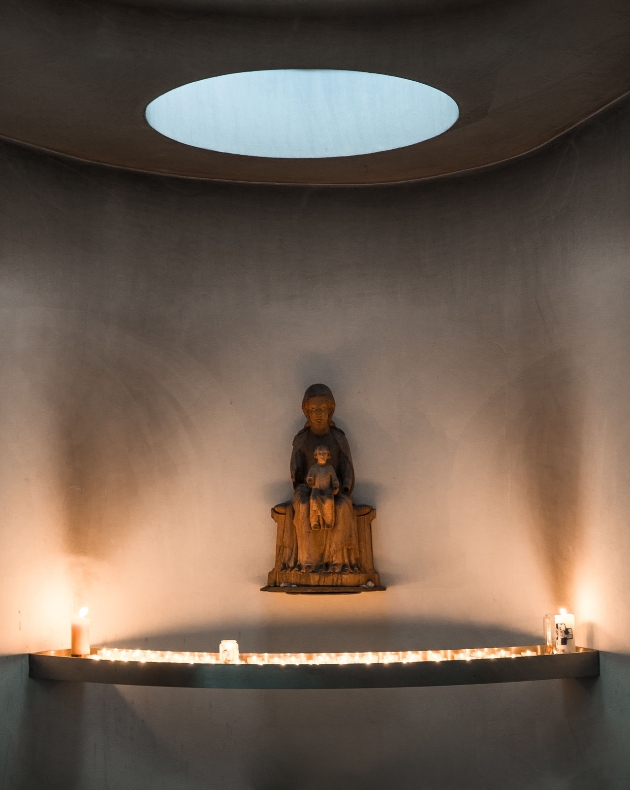 Candle Candlelight Christian Christianity Church Church Architecture Concrete God's Beauty Human Representation Illuminated Indoors  Maria Minimal Minimalism Minimalist Architecture Minimalobsession Modern Architecture Place Of Worship Religion Sculpture Skylight Smoke Soot Spirituality Statue