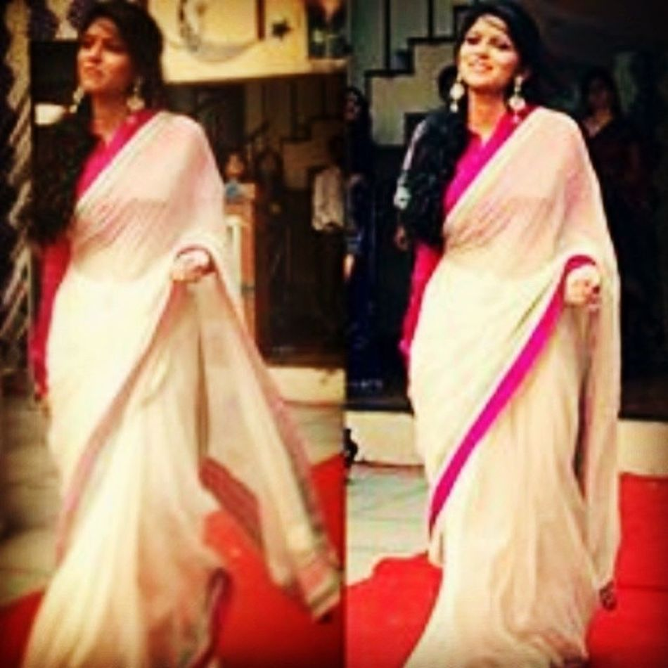 Saree Pink White Farewel Still Waiting For Datesheet For Final Exams