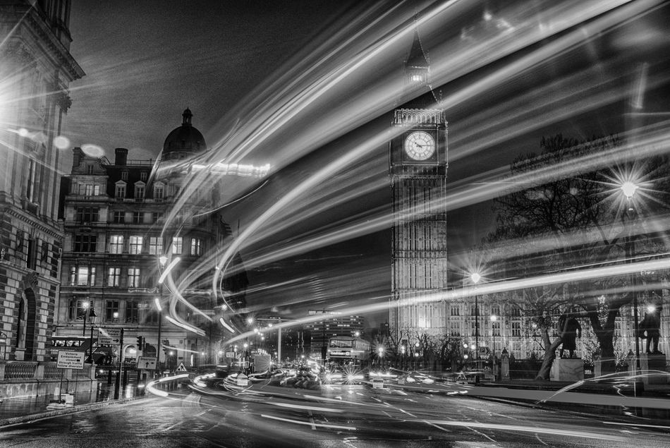 I love this city - Houses of Parliament Architecture Big Ben Blackandwhite Blurred Motion Building Exterior Built Structure City City Life Clock Clock Tower Houses Of Parliament Illuminated Light Trail London Long Exposure Monochrome Monochrome Photography Motion Night Outdoors Speed Street Transportation Travel Destinations Westminster