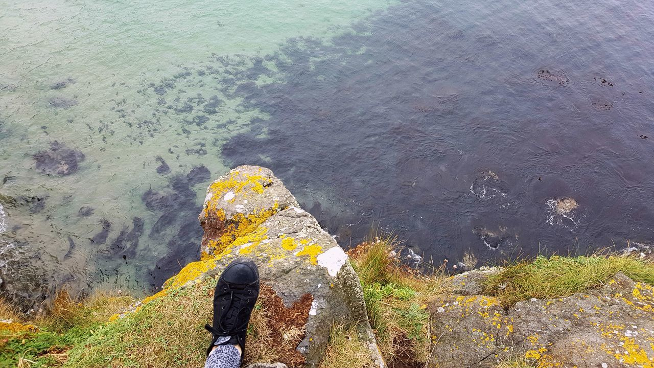 Jumping Outdoors Nothern Ireland  Cliff Nature Ocean Water Sea