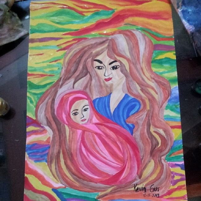 Mother and child .... I dunno though what genre of painting is this. :) Motherandchild Madonnaandchild Painting Art artwork pinoy filipinoart filipino pinoyart color colors colorful nature mother pinoyartist fluid pinoystyle asian asianartist asianart itsmorefuninthephilippines