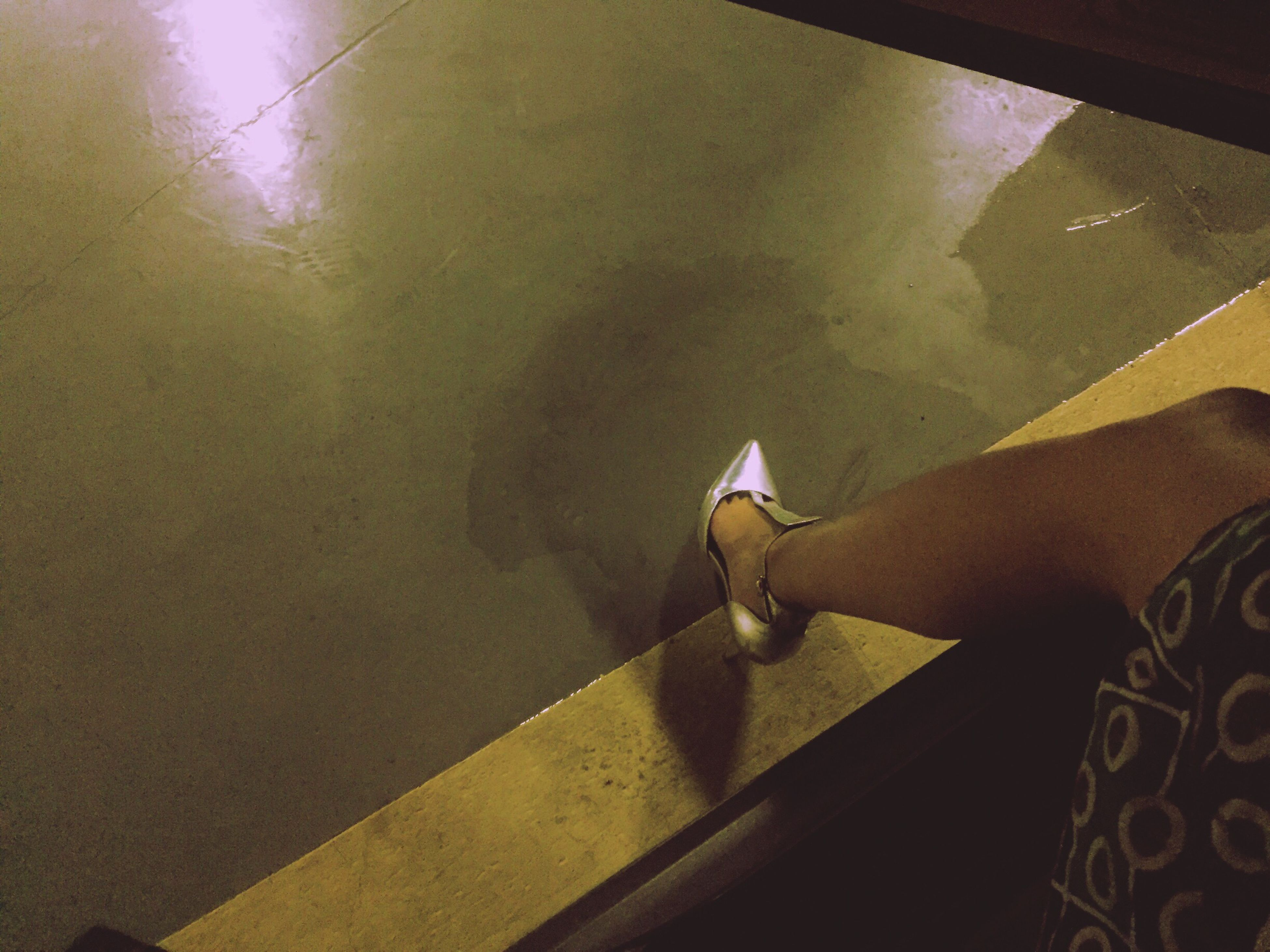 lifestyles, indoors, leisure activity, men, person, part of, reflection, high angle view, unrecognizable person, holding, water, low section, cropped, personal perspective, glass - material, full length