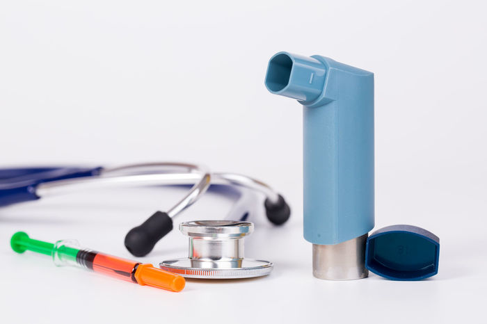 medical tool for asthma attact Asthma Attack Close-up Equipment Healthcare And Medicine Inhaler Medical Medical Exam No People Respiratory Stethoscope  Syringe Tool White Background