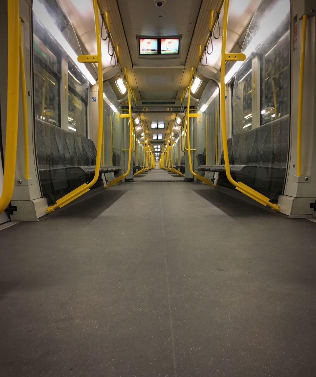 illuminated, transportation, vehicle seat, public transportation, train - vehicle, no people, indoors, day