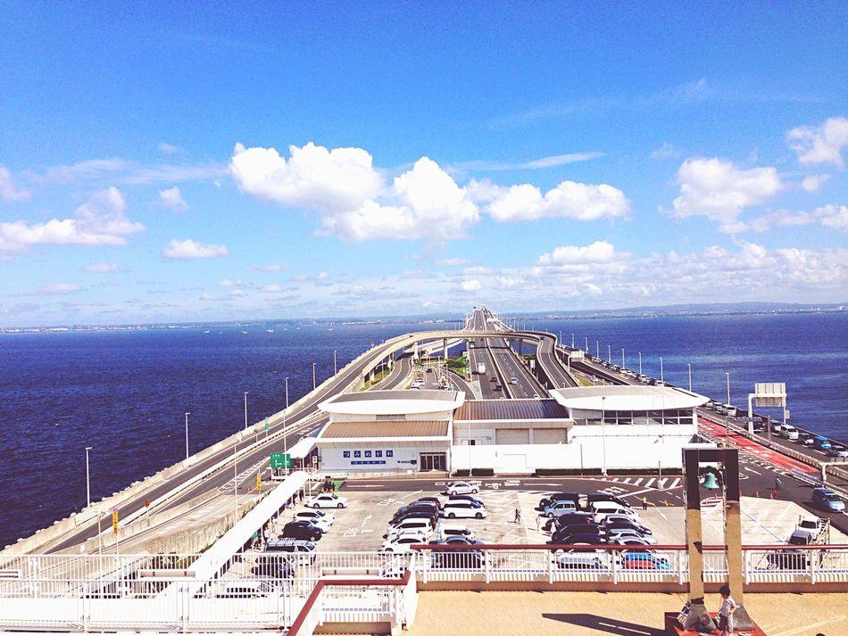Sky High Angle View Day Sea And Sky Japan Tokyo Bay Transportation Dramatic Sky Driving Miles Away