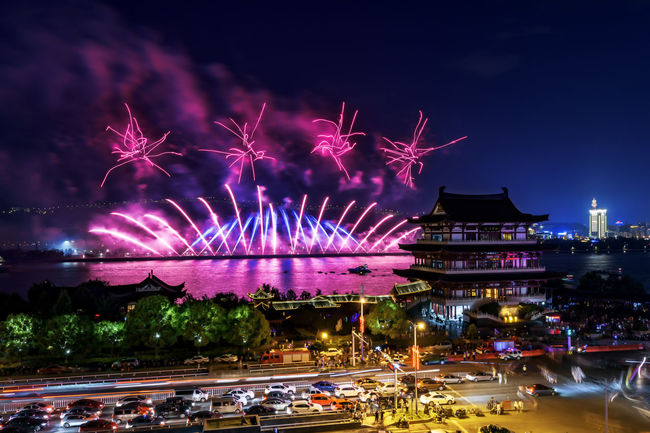 Changsha Fireworks Battle Of The Cities Blurred Motion Celebration Changsha Changsha,China City Cityscapes Firework Fireworks Illuminated Light Trail Long Exposure My Favorite Place Night