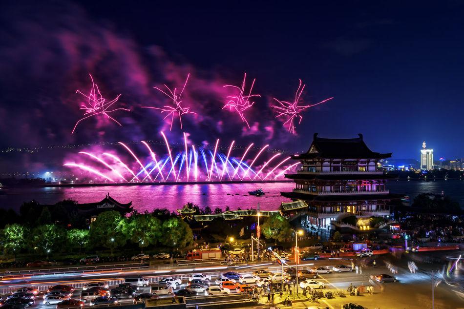 Changsha Fireworks Battle Of The Cities Blurred Motion Celebration Changsha Changsha,China City Cityscapes Firework Fireworks Illuminated Light Trail Long Exposure My Favorite Place Night Embrace Urban Life
