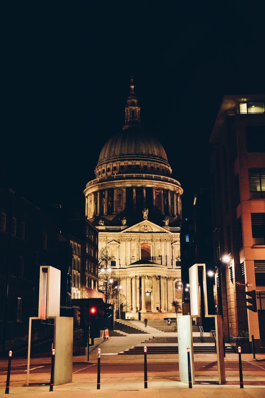 architecture, built structure, building exterior, night, illuminated, dome, outdoors, religion, place of worship, spirituality, city, no people, clear sky, sky