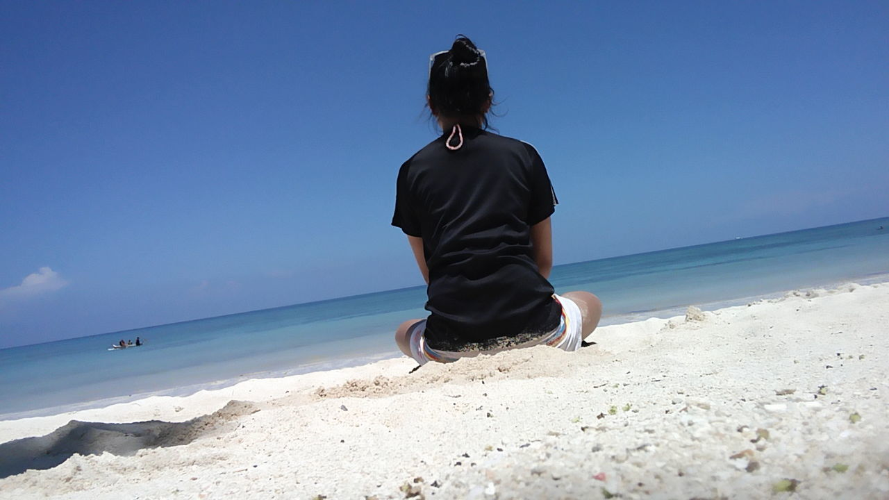 Alone time.. One Person Rear View Bluesky 🌈🌈🌈 Scenics Outdoors Beach Sea Sunkissed☀ Whitesands Beach Blueocean Salty Air Cloud - Sky Naturelovers Refraction Gumasa Beach, Glan
