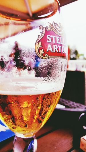 Drink Refreshment Food And Drink Drinking Glass Close-up Alcohol Beer - Alcohol Beer Glass Day Frothy Drink Freshness Indoors  Cold Temperature Stella Artois