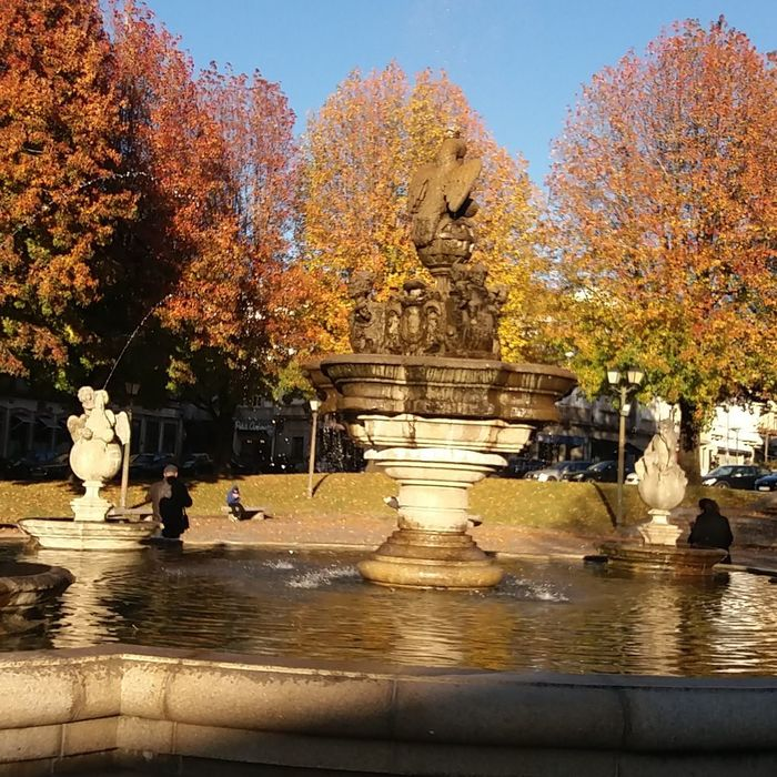 Autumn Water Statue Sculpture Tree Outdoors Day No People Architecture Sky