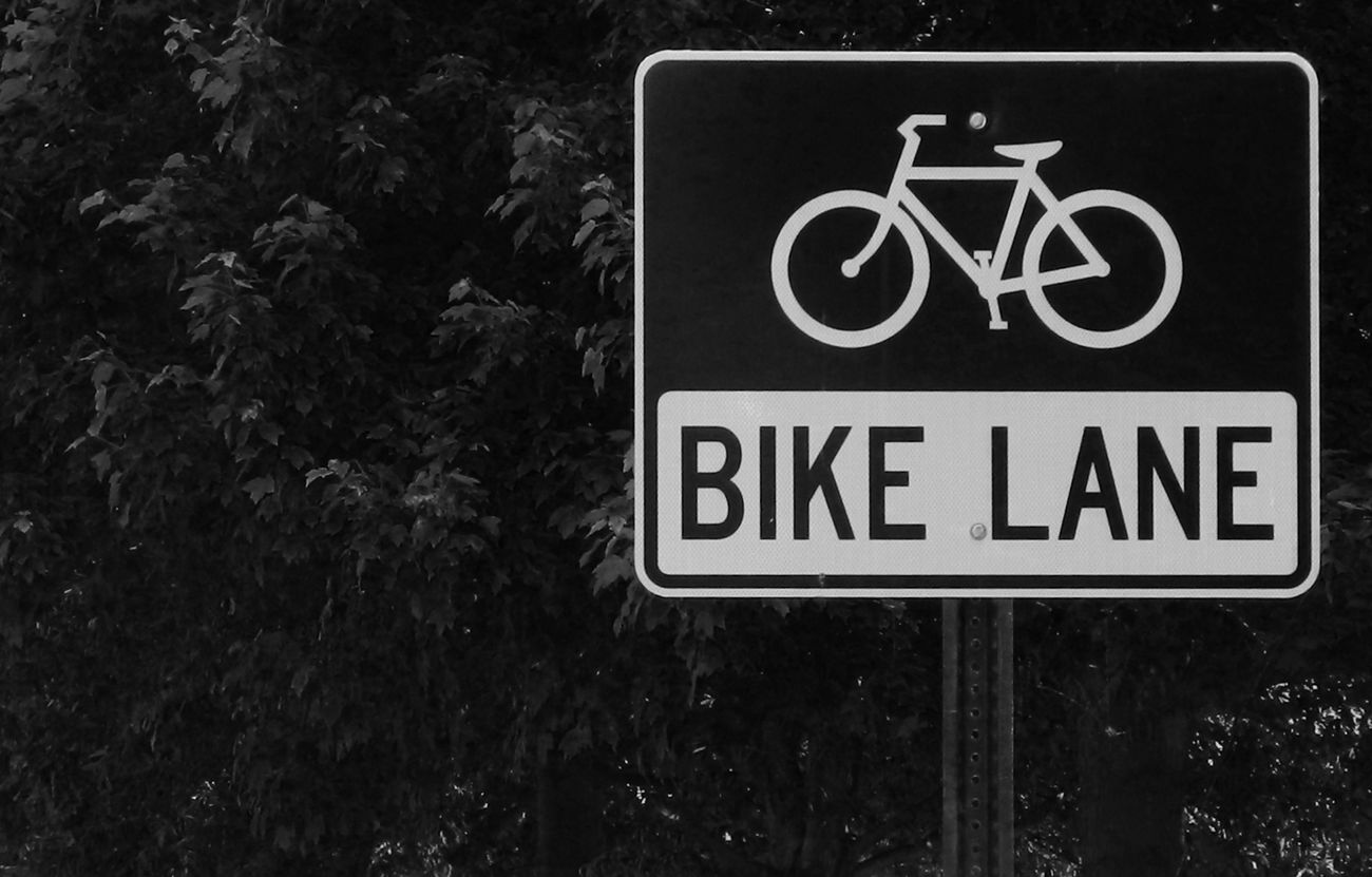 Bike lane sign Bicycle Bike Lane Black Color Capital Letter Close-up Communication Cyclist Day Directional Sign Information Information Sign No People Outdoors Rider Road Sign Sign Text Trees Background Western Script