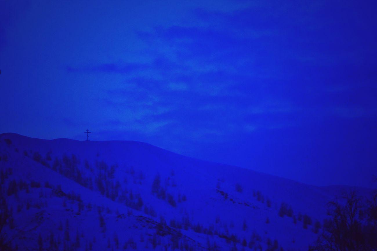 Карабаш город зима холод гора крест утро