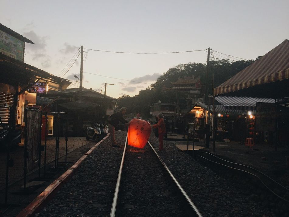 Taiwan Skylantern Train Taipei Tourism Couple Date Wish Traditional Asian Culture Keelung Oldcouples Popular Railroad Track Cable Outdoors