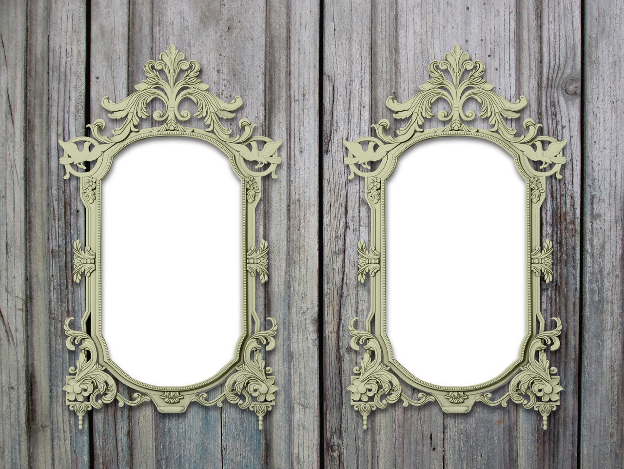 Two decorated baroque frames on grey wooden boards background Art And Craft Art Nouveau Frame Background Blue Design Geometry Historic Indoors  No People Old Old-fashioned Ornate Rococo Scratched And Cracked Wood Shades Of Grey Symmetry Timber Two Baroque Vertical Frames Vertical Symmetry Weathered Wooden Boards Wood
