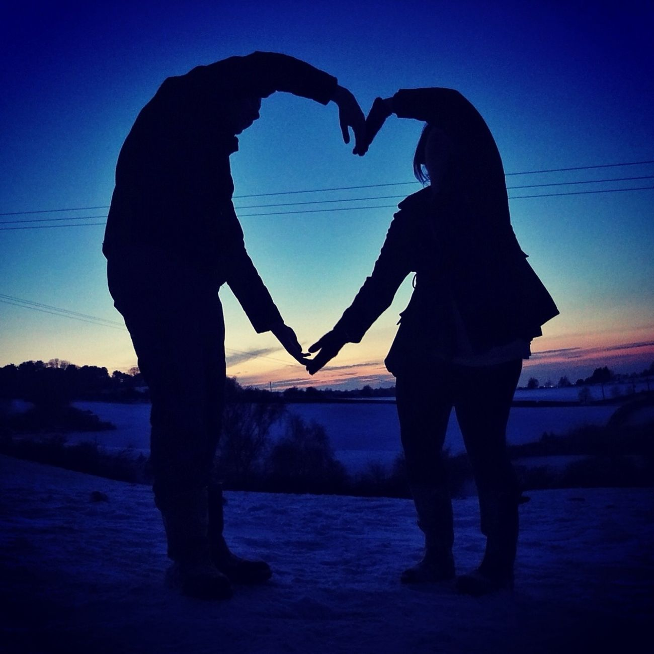 #sunset #heart #silhouette #snow #pretty #iseehearts #cute