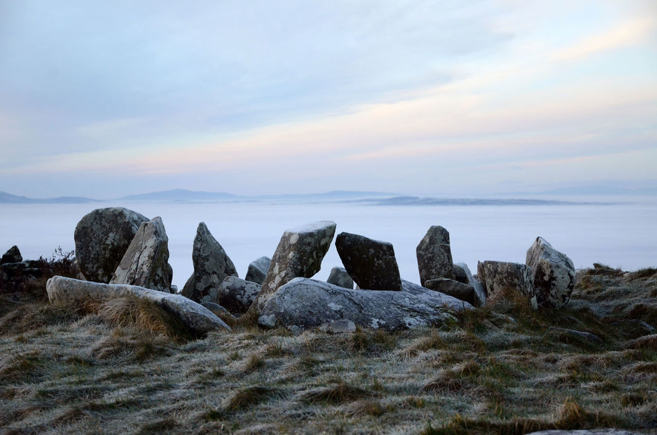 Burial Site Dawn Fog Landscape Neolithic Neolithic Ireland Outdoors Scenics Sky Standing Stones Tranquil Scene Tranquility