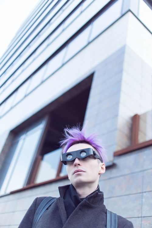 Android Boy City City Life Cyborg Fashion Future Future Vision Geometry Life Style Lifestyles Male Neon Neon Color One Person Outdoors Robot Techno Technology Urban Urban Geometry Urban Lifestyle Violet Violet Hair Young Adult