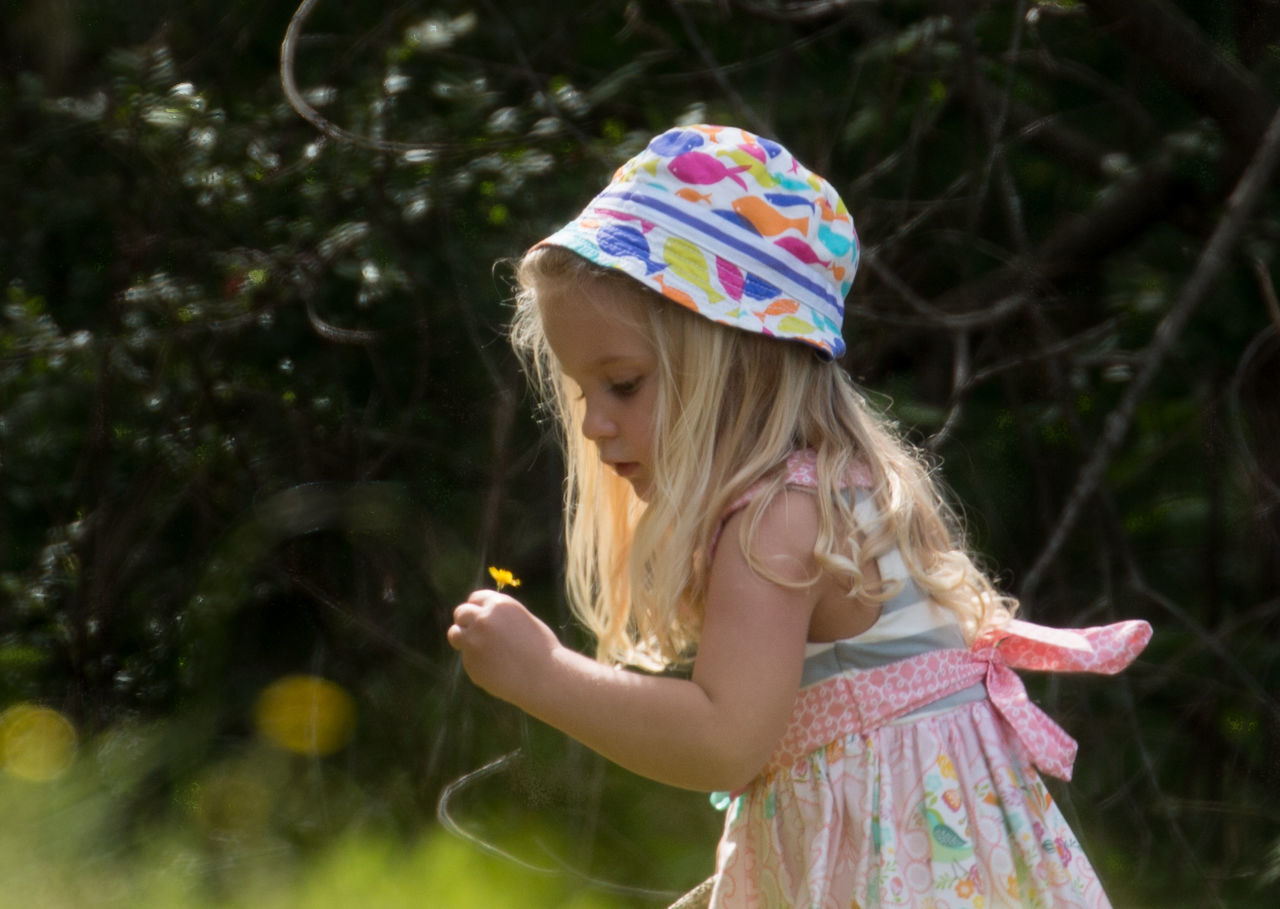 Hello Spring!🌞🌞 Kid Kids Girl Nature Street Photography Children Childhood Lifestyles Leisure Activity Pink Flowers Yellow Flowers in United States