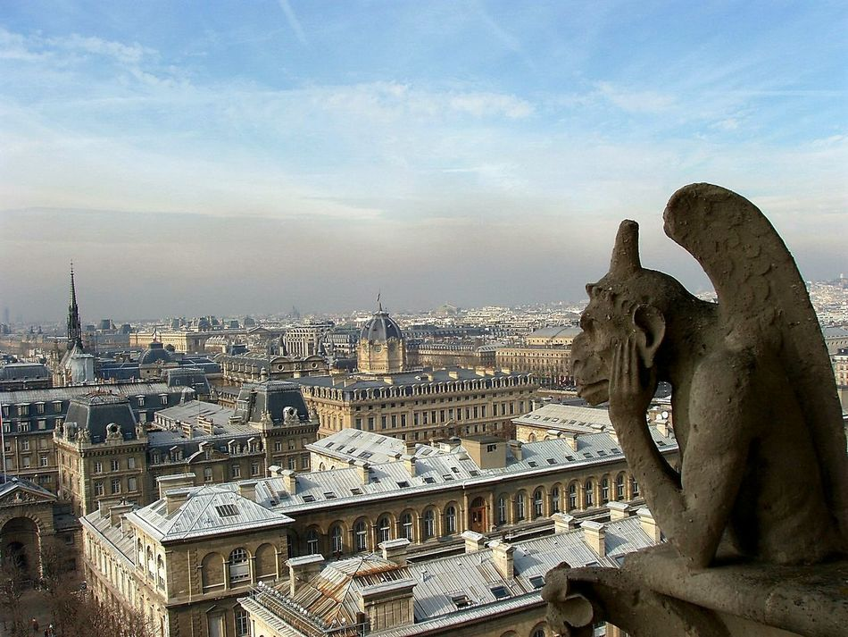 Notre-Dame Notre Dame De Paris Notredame Paris Paris, France  Gargoyle Gargoyles Gargolas Gargouilles Travel Cityscapes From The Rooftop Thinking Watching Learn & Shoot: Balancing Elements Grey Sky Cathedralenotredame Cathedral The Architect - 2016 EyeEm Awards The Great Outdoors - 2016 EyeEm Awards