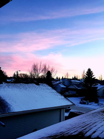 Winter Snow Cold Temperature Weather Sky Roof Nature Beauty In Nature Cloud - Sky Scenics Sunset