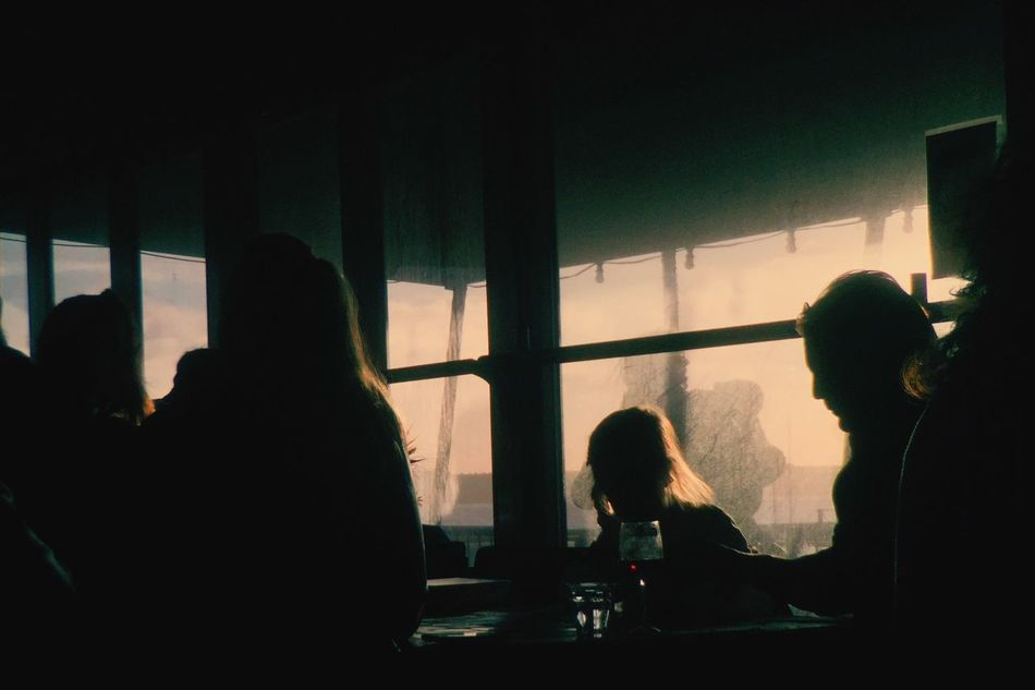 Having a drink after a good walk on the beach. Sunshine Enjoying The View Sunset Silhouettes Cafe Bar Into The Light At The Beach