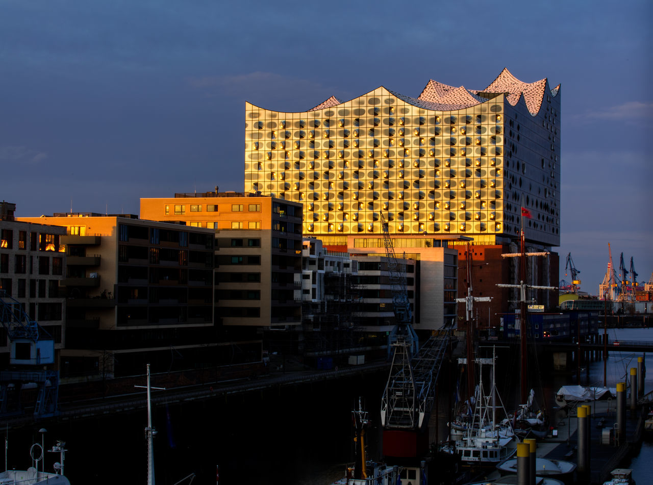 Sunset in Hamburg with the view to the Elbphilharmonie in Germany Architect, Architecture B Building Concert Elbphilharmonie Germany Hamburg Harbour Herzog Et Meuron Modern Museum Orange, Yellow, Red Ship Sky Swimming Water