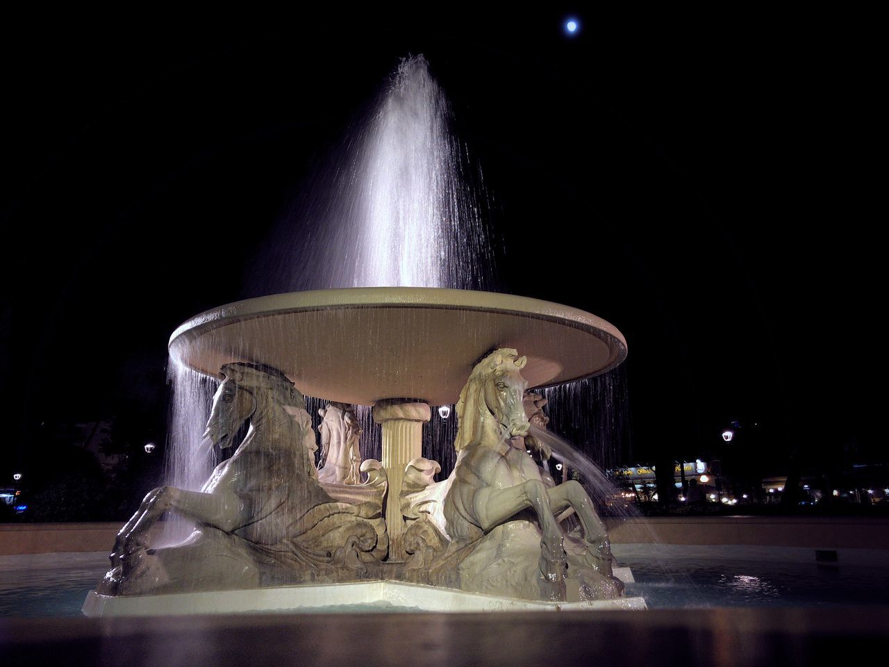 night, fountain, water, motion, long exposure, illuminated, spraying, no people, statue, indoors, sky, close-up