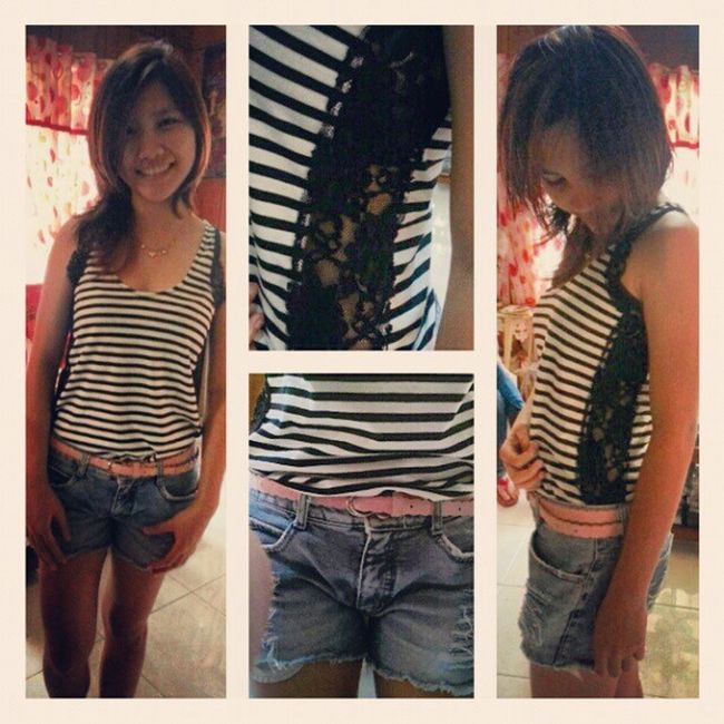 Here at @loiselleeyyy 's crib. Hahaha! Ootd Laced Ripped Shorts stripes