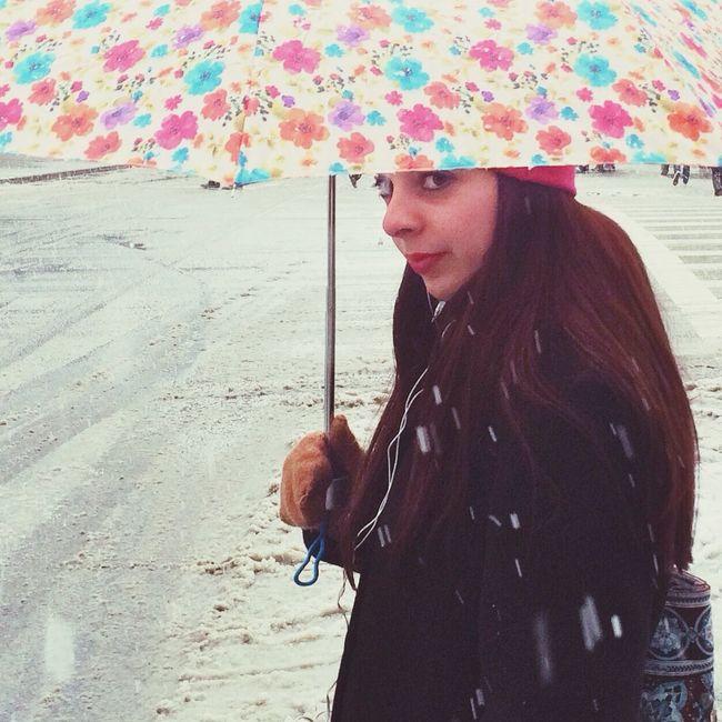 Snow On The Corner Umbrella Streetphotography