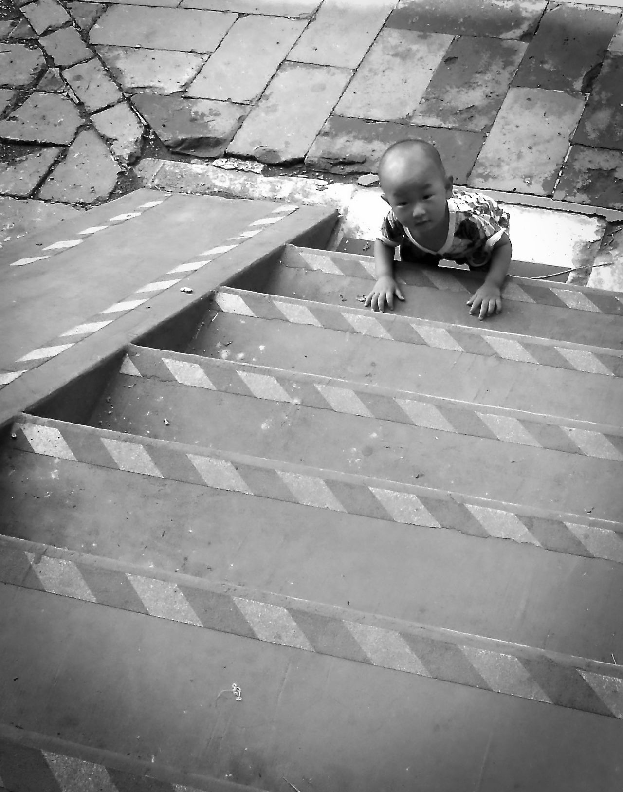Beijing Children Climbing Keep On Going Stairs The Way Forward There We Go You Can Do It A Bird's Eye View Wait For Me Black And White