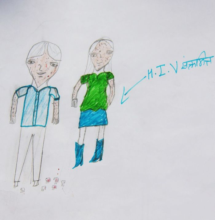 Nepalese pupils drew this image when asked to express their understanding of HIV/Aids. They are certain the disease comes along with bugs and skin reactions. (Outcome of an HIV/Aids prevention among schools in Kathmandu, Nepal.) Aids Bug Discrimination Drawing Education HIV Awareness Human Rights Campaign Prevention Pupil Stigma