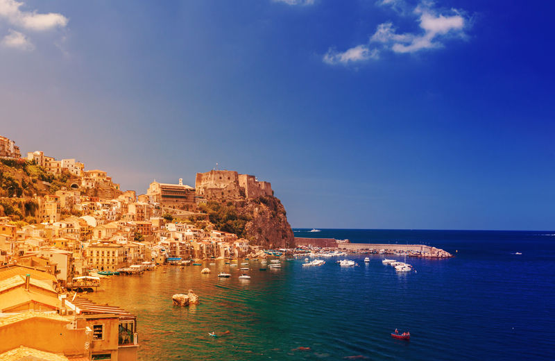 MessinaStrait Scilla Architecture Blue Building Exterior Built Structure Calabria Chianalea Day Italy Messina Strait Nature Nautical Vessel No People Outdoors Scenics Sea Sky Travel Destinations Tyrrenian Sea, Italy Water
