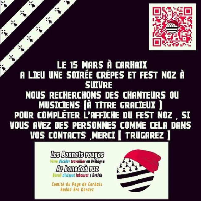 !!!!!!! INFORMATIONS !!!!!!! 15 Mars Festnoz Crêpes @bonnetrougebzh Carhaix Comité