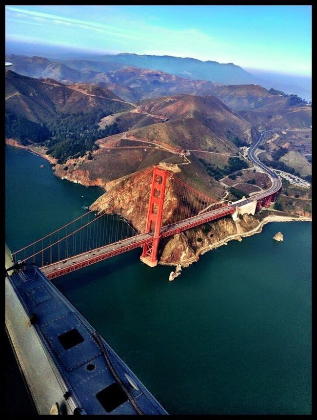 Connection Transportation Water Mountain Built Structure Engineering High Angle View Architecture Sky Outdoors Bridge Aerial View Mountain Range Remote Scenics San Francisco California SanFranciscoBay Golden Gate Bridge Famous Place Diminishing Perspective Tourism Travel Destinations