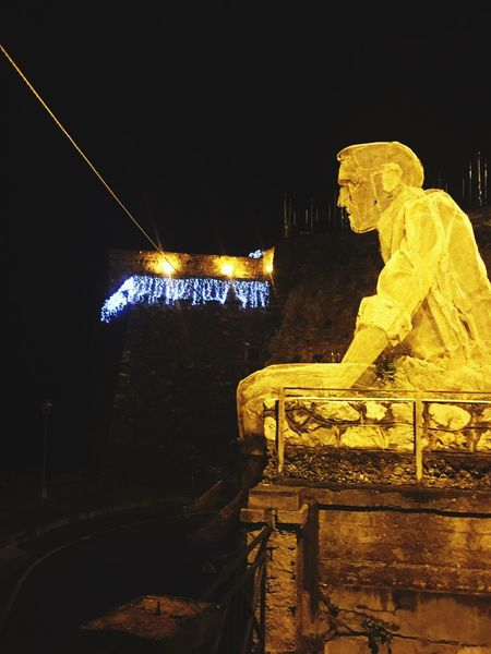 Night Architecture Illuminated Human Representation Built Structure Statue No People Sculpture Building Exterior Outdoors City Sky Calabria Pizzo Italy❤️ Lovemycity Tranquility