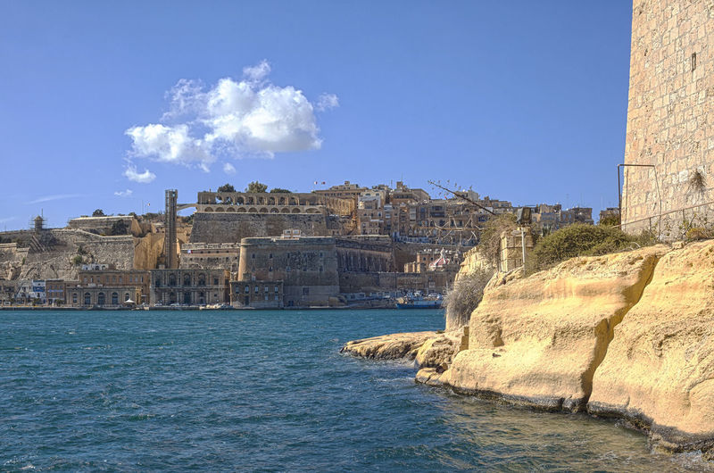 Valletta European Capital Of Culture 2018 Valletta Architecture Valletta,Malta Architecture Blue Building Exterior Built Structure Castle City Day Fort Grand Harbour History Nature No People Outdoors Sea Sky Sunlight Travel Travel Destinations Valletta Water