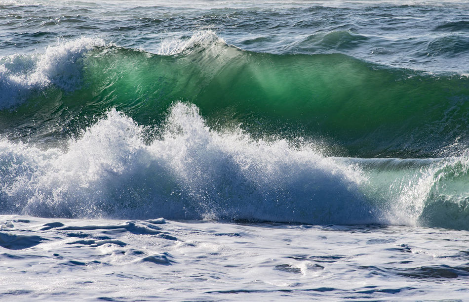 Ocean wave back lit by the sun Background Beauty In Nature Crashing Waves, Green Color Horizontal Composition Motion Nature No People Ocean Outdoors Pacific Ocean Power In Nature Scenics Sea Splashing Splashing Waves Sunlight Translucent Water Wave Waves, Ocean, Nature