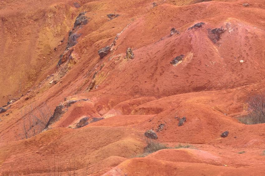It seems like on Planet Mars, Martian like landscape Iron Mars Minerals Oxide Plant Raw Red Rock Alumina Aluminium Barren Bauxite Geology Landscape Martian  Martians Mine Mining Open-pit Mining Recultivation Sedimentary
