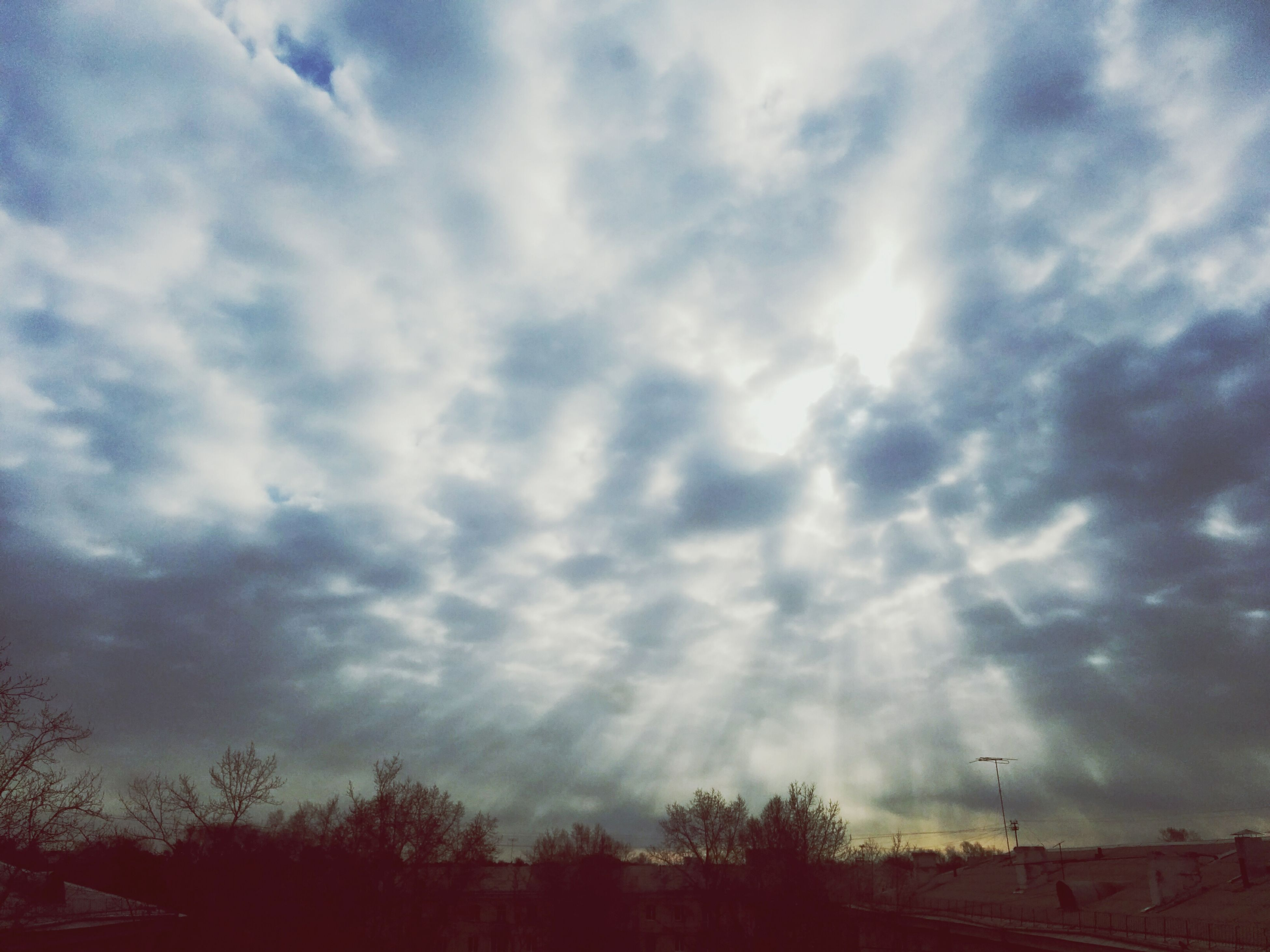 sky, cloud - sky, low angle view, tree, cloudy, silhouette, tranquility, beauty in nature, scenics, nature, tranquil scene, cloud, weather, cloudscape, overcast, outdoors, idyllic, high section, no people, storm cloud