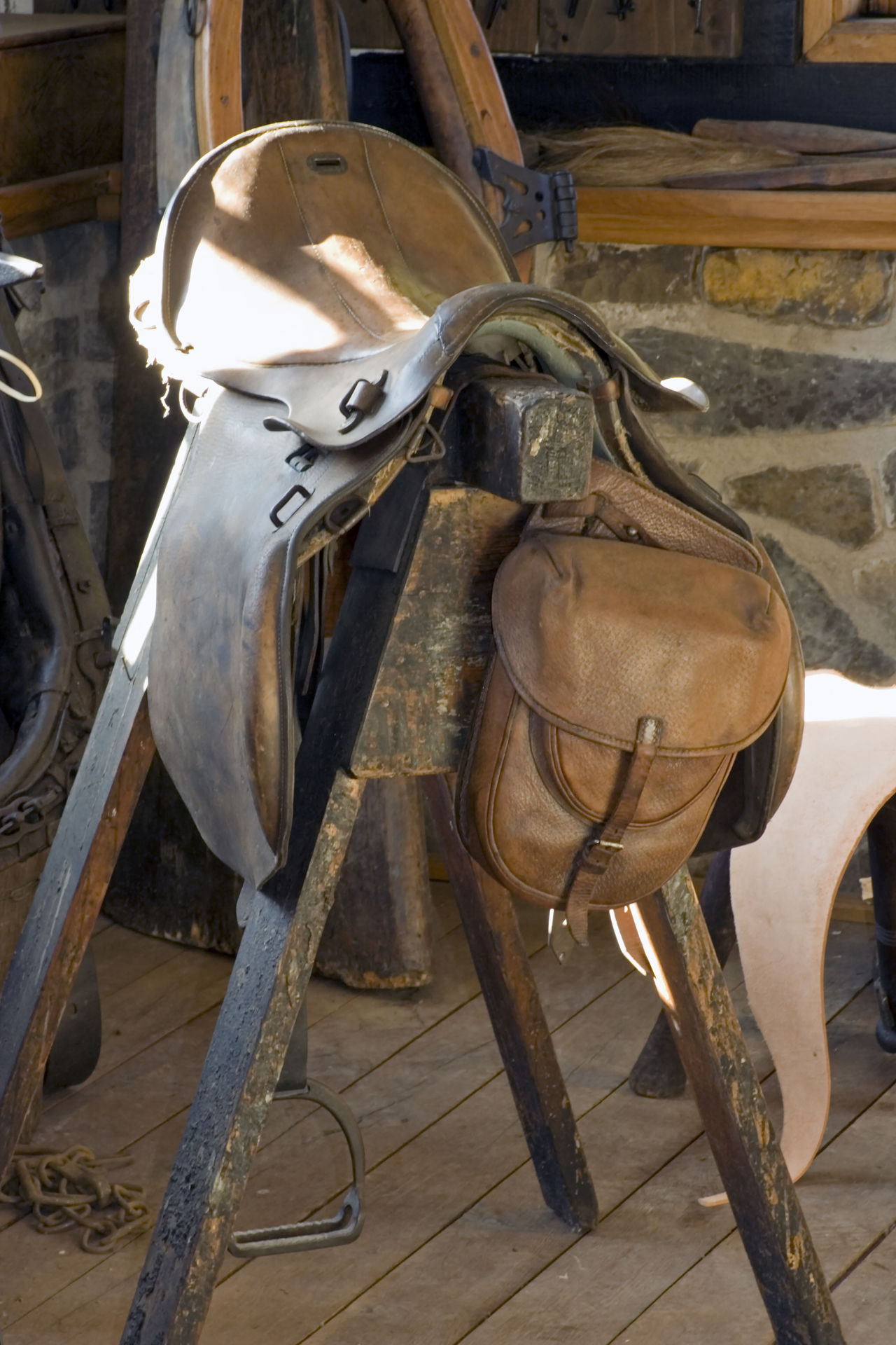 antique western saddle Ancient Art And Craft Brown Close-up Craft Crafts Equipment Horse Horses Indoors  Leather No People Old Riding Saddle Saddlebag Saddlery Saddles Single Object Skill  Stock Vintage Western Saddle Wild West Workshop