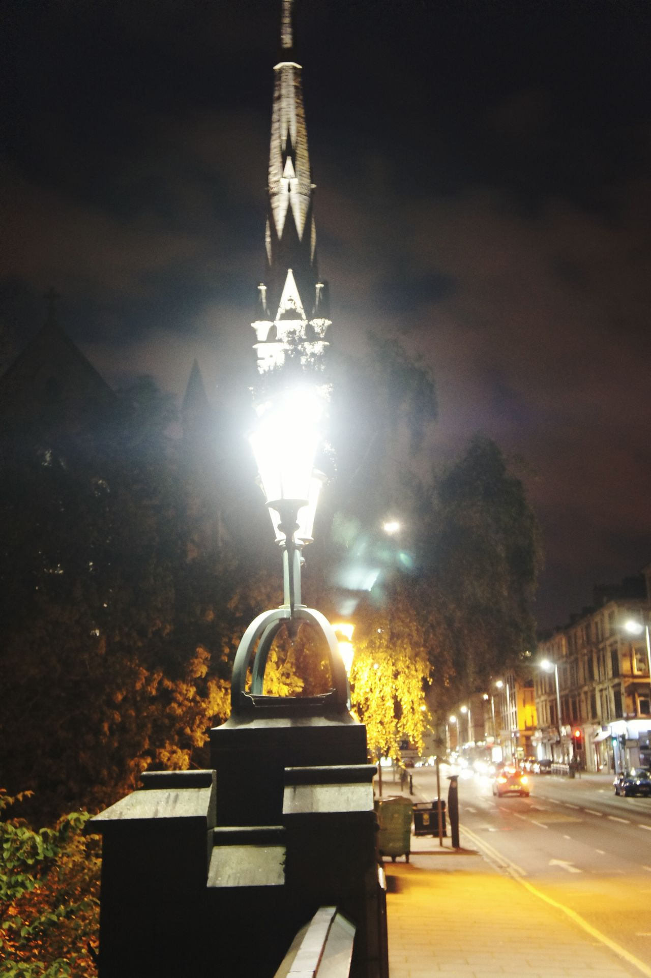 Streetphotography Night Lights Gothic Church Church Towers Street Lamps Clouds And Sky Geometric Shapes Nature On Bridge My Point Of View