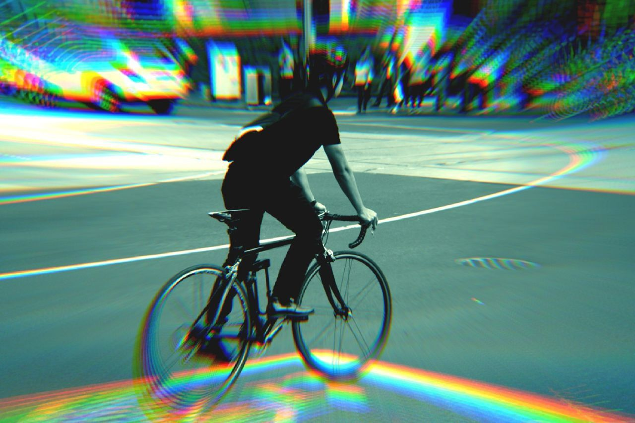 My Warped World Warping The World Cyclist Cycling Road 3 Dimensional Dimensional Artistic Expression Melbourne City My Edit Playing With Effects Eye4photography  My Artwork Effects & Filters Filter My View Pivotal Ideas Sports Photography Sport Perspective My Perspective Different Another World Pedalling In The City