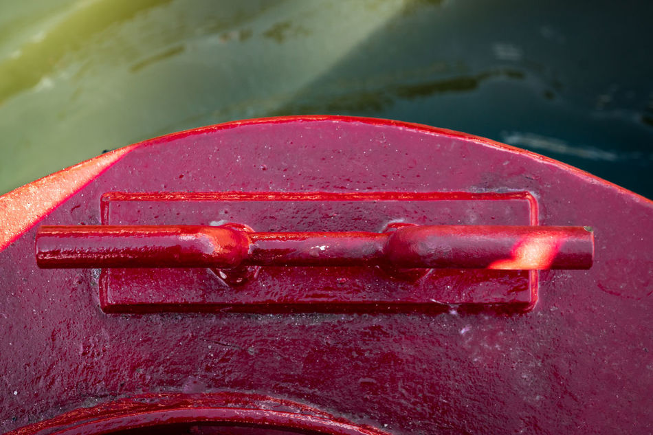 Clamp Hook Boat Close-up Fastening Part Of Red Water