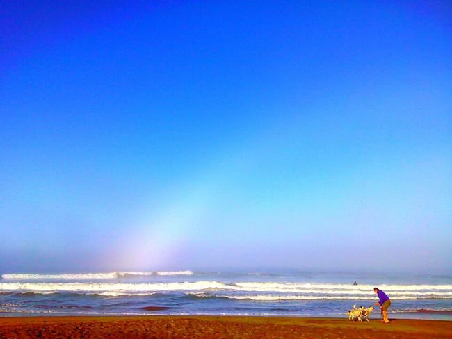 Sea Beach Blue Clear Sky Outdoors Bicycle Sand Horizon Over Water One Person Nature Sky Full Length Vacations Cycling Water Scenics Day Person Horizontal Beauty In Nature Fog Rainbow Ra