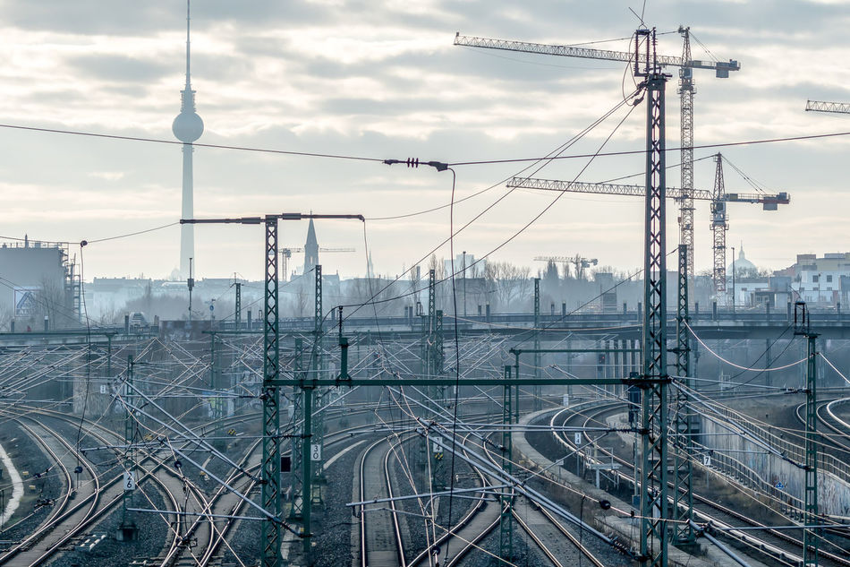 Cityscape Clouds And Sky Complexity Confusion Cranes Dust Electricity Pylon Logistic Logistics Misty Misty Morning Mode Of Transport Public Transportation Railroad Track Rails Railway Railway Track Skyline Transportation TV Tower Krull&Krull Images